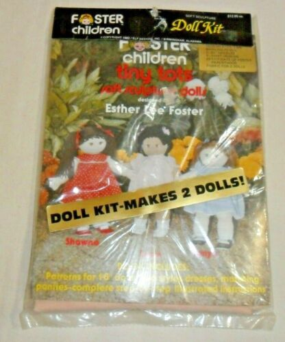 "Foster Children Doll Kit ""Tiny Tots"" Soft Sculpture Makes 2 Dolls, Sealed 1983"