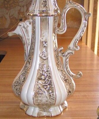 """R Capodimonte Porcelain Pitcher Large 20"""" Italy Gold Gilt Orig. Owner Never Used"""