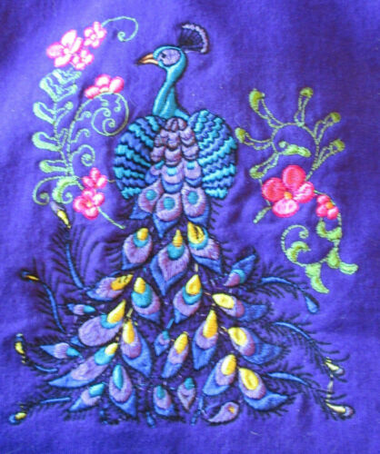 Embroidered Long-Sleeved T-Shirt - Elegant Peacocks PE01