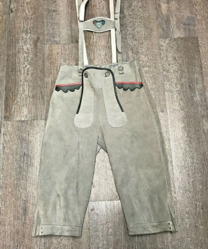 "Vintage Leather Lederhosen Leather Pants Suspenders  Waist 28""  Austria"