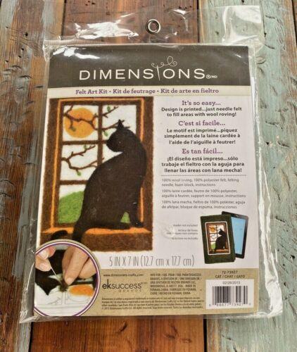 "Dimensions Felt Art Kit Wool Needle Felting Black Cat Silhouette 5"" x 7"" NIP"