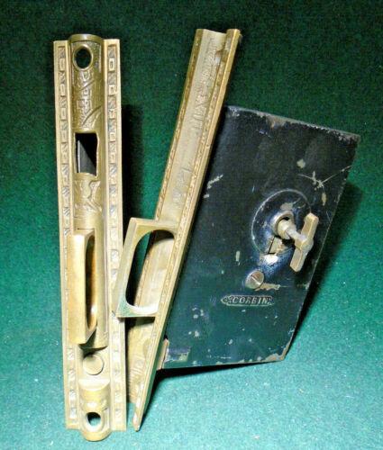 PAIR of CORBIN EASTLAKE POCKET DOOR MORTISE LOCKS w/KEY - WORKS GREAT (11995)