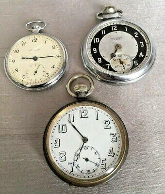 Lot 3 Vintage Pocket Watches Ingersol Triumph Russian Marrha Art Deco 1 Working
