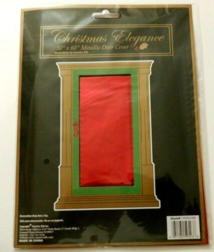 """Holiday Christmas Foil / Metallic Red Door Cover  30"""" x 60"""""""