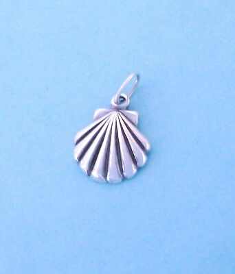 Sterling Silver Scallop Shell (Sterling Silver Seashell Charm, 3D Small Tiny Mini, Scallop, Sea)