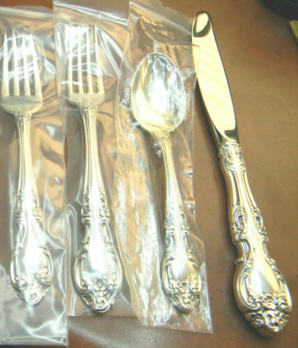 1 MELROSE BY GORHAM STERLING 4 PIECE LUNCH PLACE SET NO MONO. HAVE 4 GORGEOUS
