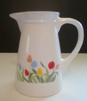 RED BLUE TULIPS PITCHER BRIGHT FLOWERS YELLOW PINK SPRING MARKED TAIWAN