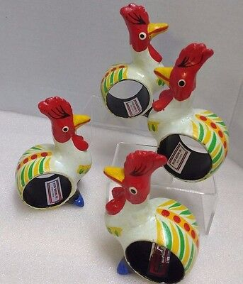 Wood Hand Painted Chicken / Rooster Napkin rings set of 4