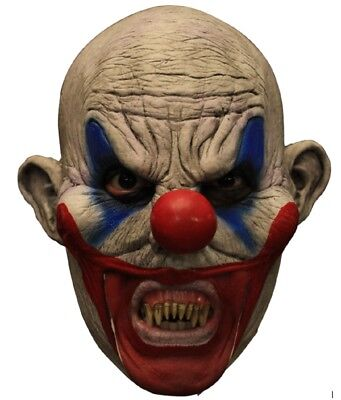 Clooney Clown With Teeth Latex Mask Killer Open Mouth Prosthetic Adult Halloween](Clown Prosthetic Halloween Mask)