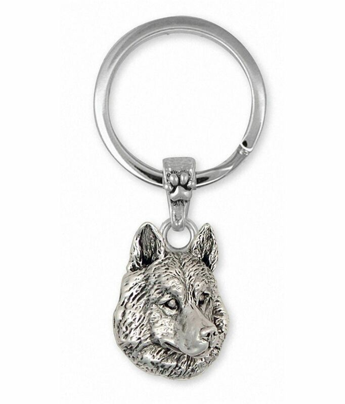 Siberian Husky Key Ring Jewelry Sterling Silver Handmade Dog Key Ring SB1-2KRE