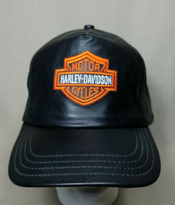 Vintage Harley Davidson Leather Baseball Cap Hat One Size Fits All USA