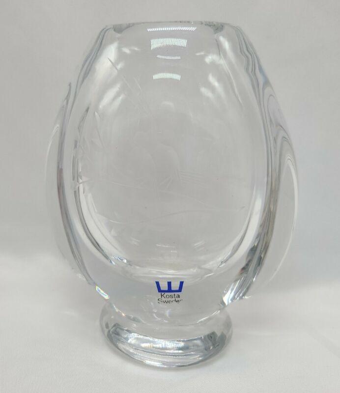 """Vintage 5"""" Kosta Boda Sweden Art Glass Vase Etched Song Bird Design Signed"""