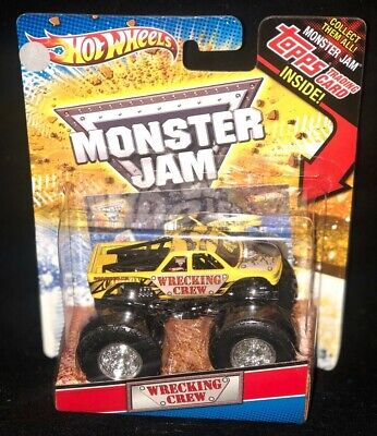 HOT WHEELS MONSTER JAM WRECKING CREW INCLUDES MONSTER JAM TOPPS TRADING CARD NEW