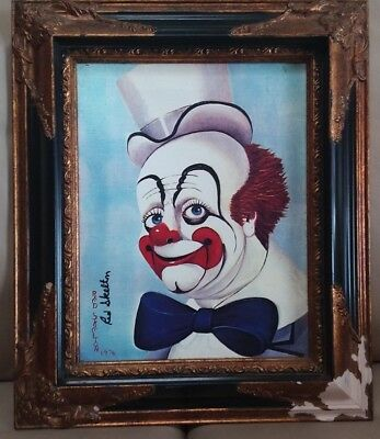"""1976 Red Skelton's """"LORD HELP US"""" Oil Transfer on Canvas Measures 14x11 Signed"""