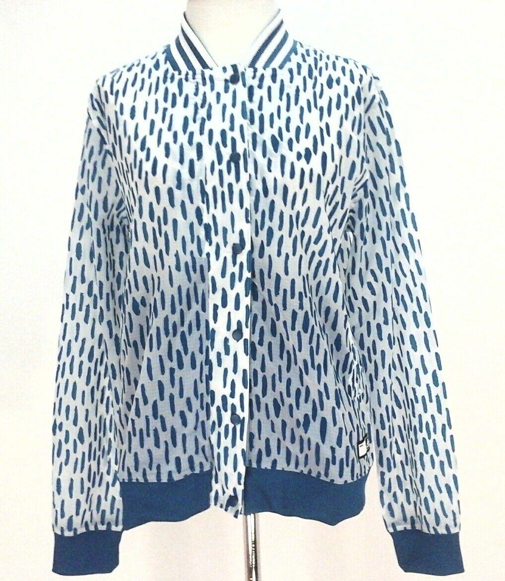 Super Rare Adidas Originals All Over Print Logo Windbreaker Jacket Blue White Sm | eBay
