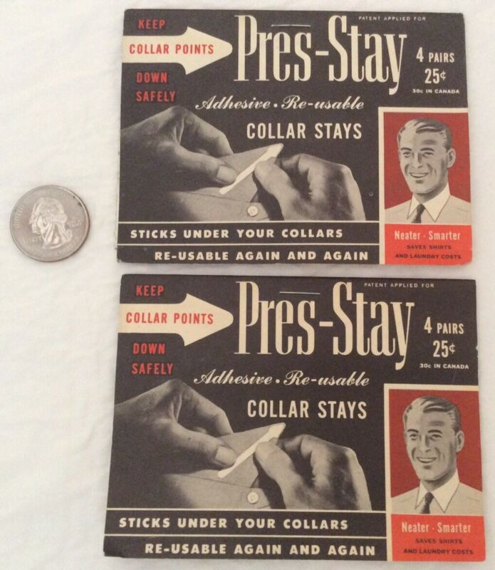 VINTAGE PRES-STAY COLLAR - 2 PACKAGES WITH 8 PAIRS - ADHESIVE RE-USABLE - 1948