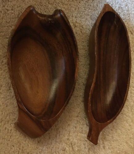 Lot of 2 VtG MCM Acacia Wood Monkey Pod Banana Bowl Dish Kauai LIHUE HAWAII HI