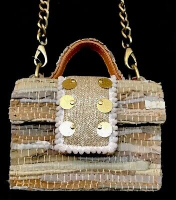 Kooreloo Petite Purse Gold Beige And Cream Glitter Tweed Minibag Flap Long Chain
