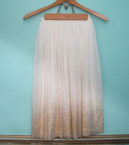 CHEROKEE girls 14 party holiday Skirt long gold ombre tulle layered girls Size M