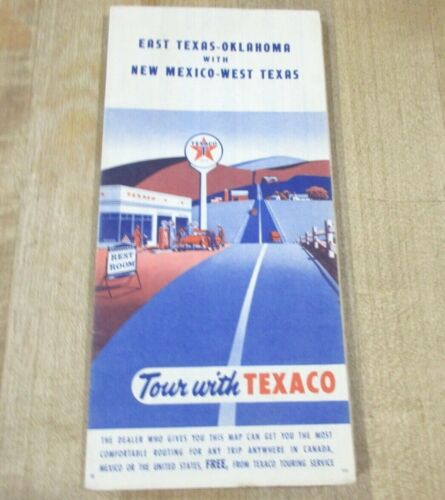 Vintage Texaco Oil Map of East Texas Oklahoma New Mexico West Texas     >