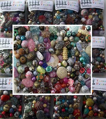Job Lot Mixed bag of random Acrylic Jewellery Making Beads - 100g