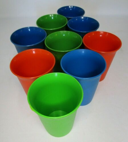 Vintage Colorful Tupperware Plastic Bell Cups Kids Tumblers Set of 9