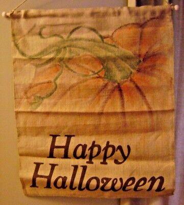 Pottery Barn Burlap Halloween Banner Fall Pumpkin ~ NEW - Burlap Halloween Banner