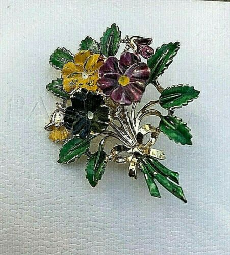 Vintage Exquisite Brooch SMALL   VERSION   PANSIES    BIRTHDAY BROOCH  VGC