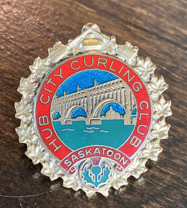 Vintage Hub City Curling Club Saskatoon Saskatchewan Canada Pin