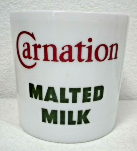 Carnation Malted Milk Glass Container Soda Fountain Advertising Jar