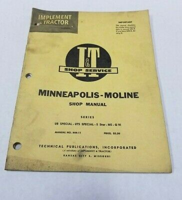 Minneapolis Moline Shop Mm-11 Manual Ub Special Uts Special 5 Star M5 G Vi