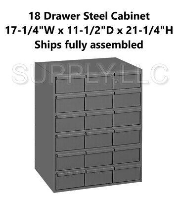 Metal 18 Bin Storage Drawer Cabinet Steel Parts Nuts Bolts Fasteners Screws Tool