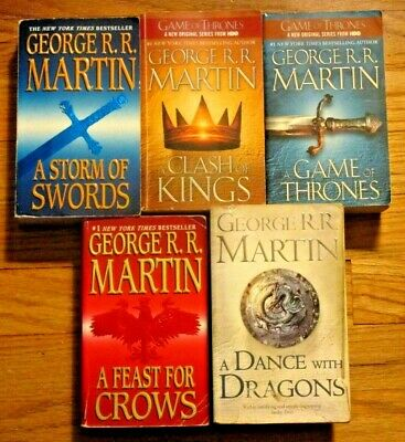 LOT OF ALL 5 BOOKS~GEORGE R.R. MARTIN'S A SONG OF ICE & FIRE~GAME OF THRONES~PB3