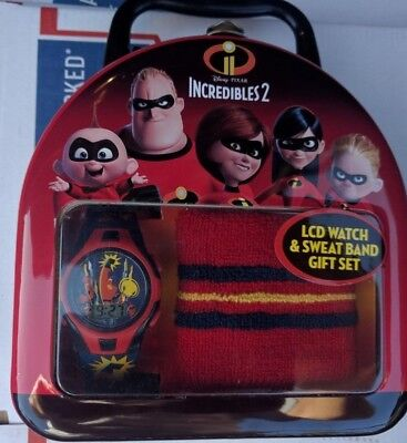 INCREDIBLES 2 DISNEY PIXAR  LCD WATCH AND SWEAT BAND GIFT SE