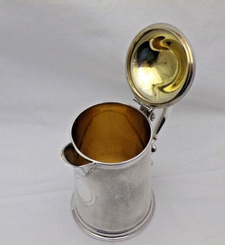 1868 Antique Sterling Solid Silver Lidded Jug Tankard 1 Pint 545g (1532-9-OSNY)