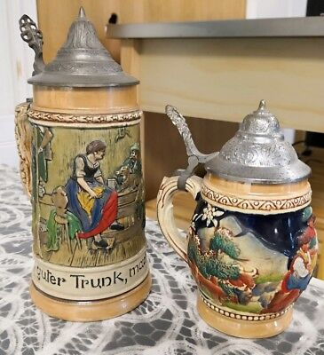 2 Vintage GERMAN Beer Stein's - lidded