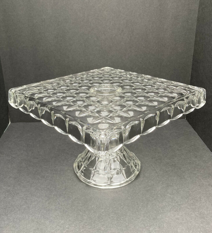 Vintage Indiana Glass Constellation Square Cake Plate Stand Rum Well Footed