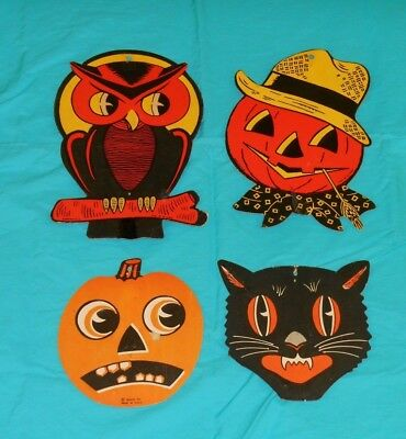 Vintage Halloween Cat Faces (vintage Halloween Beistle + Luhrs SMALL BLACK CAT FACE jol OWL decoration lot)