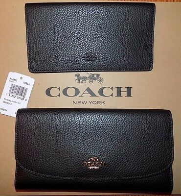 NWT Coach F16613 Black Pebbled Leather Checkbook Wallet F16613 $250 FREE SHIP!