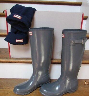 HUNTER BOOTS Classic Women size 9 Gray Glossy Graphite Original Tall & Navy Sock
