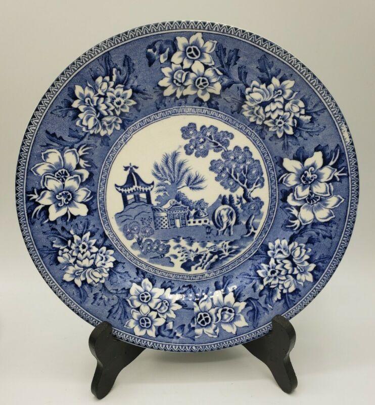 "2 John Steventon & Sons 9"" Blue & White Transferware Plates Rogers 1780 Repro"