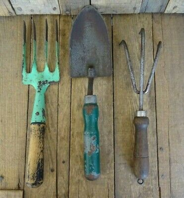 Vintage Garden / Allotment Tools includes Fork, Trowel & Claw Cultivator Job Lot