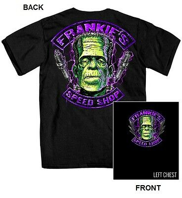 Frankie's Speed Shop T-Shirt Biker Halloween Frankenstein Costume Hot Rod Black