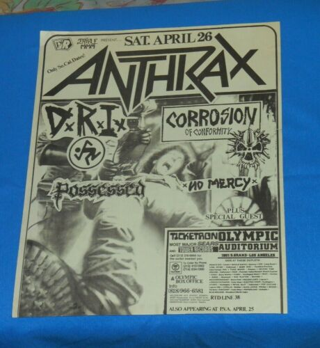 vintage original ANTHRAX FLYER Corrosion of Conformity D.R.I. No Mercy Possessed
