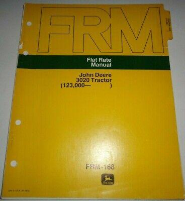 John Deere 3020 Tractor Flat Rate Repair Time Manual Sn 123000 Up Original