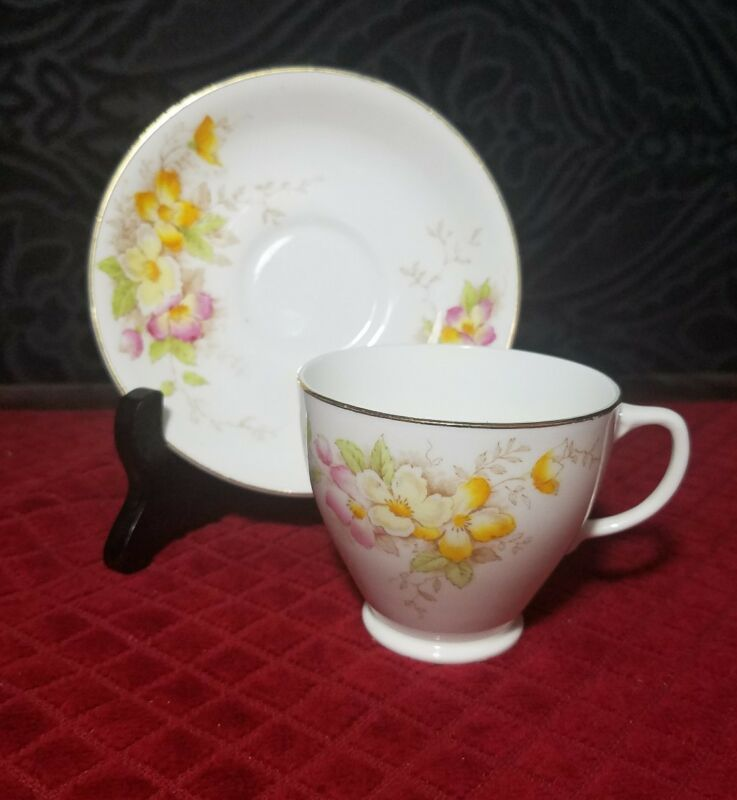 Sampson Smith Old Royal Bone China Cup and Saucer Yellow Pink Flower