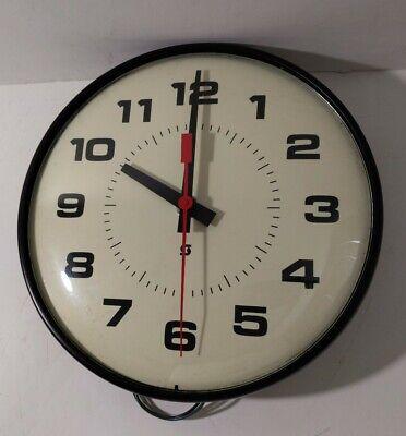 Read desc - Vintage Simplex Electric Wall Clock Bubble Glass Mid Century School