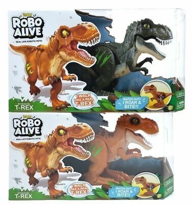2 ZURU Robo Alive Attacking T-REX Robotic Pet Dinosaur Toy w/ Sounds Glow Scars