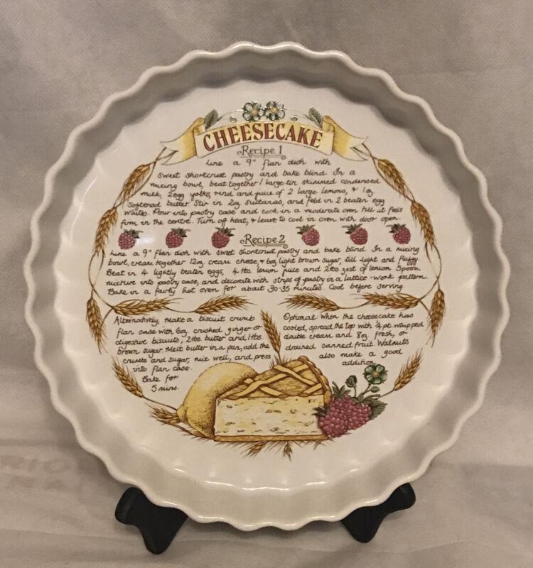 Rare Ceramic Cheesecake Fluted Flan 2 Recipe Pie Plate Dish