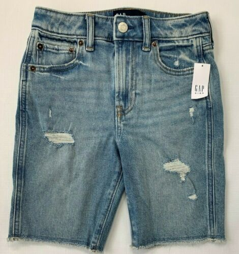 NWT Gap Girls 8 High Rise Denim Destructed Raw Hem Bermuda Shorts